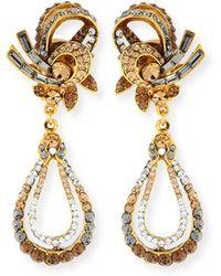 Jose & Maria Barrera | Gold-plated Crystal Swirl Teardrop Clip Earrings | Lyst