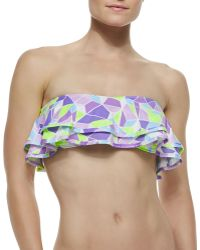 Zinke - Reese Kaleidoscope-Print Ruffled Bandeau Bikini Top - Lyst