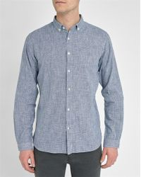 Knowledge Cotton Apparel | Blue/white Micro Houndstooth Slim-fit Shirt | Lyst