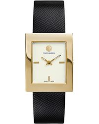 Tory Burch Buddy Classic Leather-Strap Golden Watch - Lyst