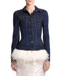 Burberry Prorsum Feather-Trim Denim Jacket - Lyst