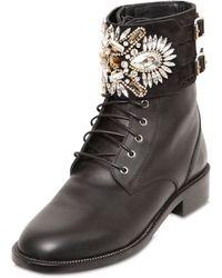 Rene Caovilla 40Mm Swarovski & Leather Boots - Lyst