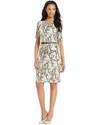 Jones New York Collection Petite Snake-Print Belted Dress - Gray