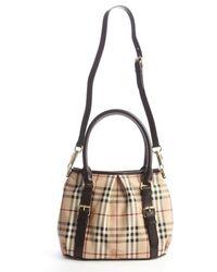 Burberry Khaki Signature Plaid Leather Trimmed Top Handle Bag - Lyst