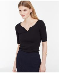 Ann Taylor Split Neck Cotton Tee black - Lyst