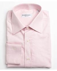 Saint Laurent Pink Oxford Cotton Point Collar Dress Shirt - Lyst