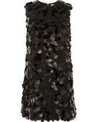 Saint Laurent Leather and Pvc Embellished Crepe Mini Dress - Lyst