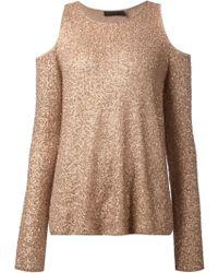 Donna Karan New York Cut-Out Shoulder Sequin Top - Lyst
