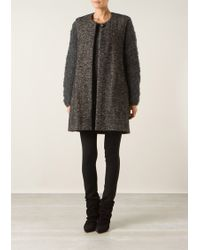 Isabel Marant Mottled Grey Chevron Patterned Wool and Mohair Cardigan - Lyst