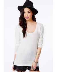 Missguided Ollie V-Neck Fluffy Knit Jumper In Cream - Lyst
