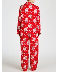 John Lewis Christmas Rose Pyjama Set - Red
