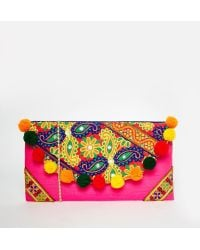 Moyna - Foldover Clutch Bag With Embroidery And Pom Pom Trim - Lyst