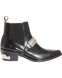 Toga Pulla Blk Polido Ankle Boot W Chain - Lyst