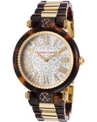 Christian Lacroix - Womens Tortoise Acetate and Goldtone Steel White Dial - Lyst
