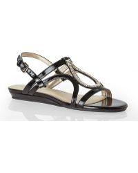 Bandolino Black Patent Mesh Chain Sandals - Lyst