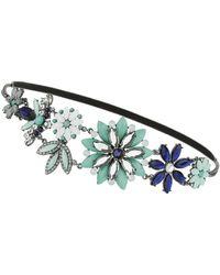 Topshop Green Flower Headband - Lyst