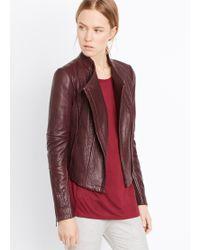 Vince Asymmetric Leather Jacket - Lyst