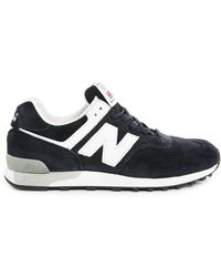 New Balance 576 Made In Uk Navy Blue Leather Sneakers - Lyst