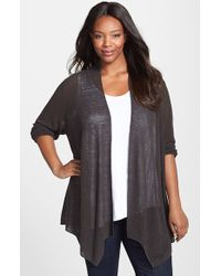 Nic+zoe 'At Ease' Linen Blend Open Front Cardigan - Lyst