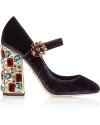 Dolce & Gabbana Vally Crystalembellished Velvet Pumps - Lyst