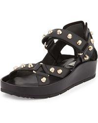 Balenciaga Studded Flat Leather Sandal black - Lyst