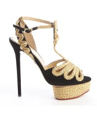 Charlotte Olympia Black Suede And Braided Gold 'Rapunzel' Platform Sandals - Lyst