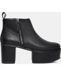 Monki Arina Platfrom Heeled Ankle Boots - Black