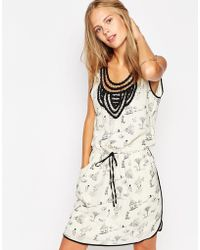 Greylin Printed Tunic Dress With Embroidered Neckline - Natural