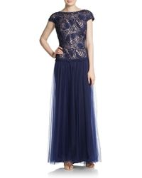 Tadashi Shoji Embroidered Shell Lace Cap-Sleeve Gown - Lyst