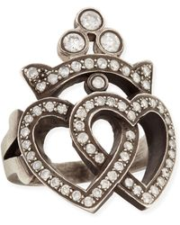 Irit Design - Double Heart Crown Ring with Diamonds - Lyst