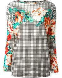 Etro Checked Floral Top - Lyst