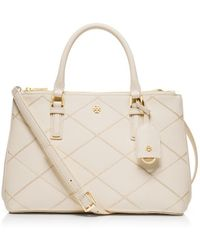 Tory Burch Robinson Stitched Mini Double-Zip Tote - Lyst