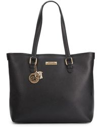 Versace Pebbled Leather Tote Bagblack - Lyst