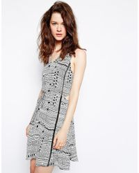 Greylin Gregory Cut-Out Printed Dress With Tie Waist - Grey