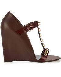 Balenciaga Classic Screw Leather Wedge Sandals - Lyst