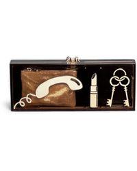 Charlotte Olympia 'Essential Clutch Box' Perspex Clutch black - Lyst