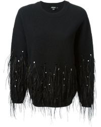 DKNY Feathers and Sequins Embroidered Sweatshirt - Lyst