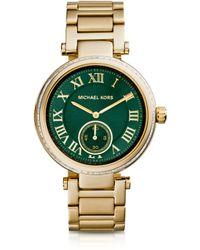 Michael Kors Mid-Size Golden Stainless Steel Skylar Three-Hand Glitz Watch - Lyst
