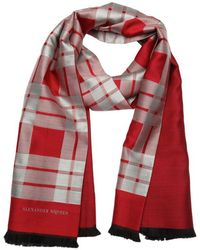 Alexander McQueen Red And Silver Plaid Silk And Wool Scarf - Lyst