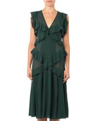 Burberry Prorsum Layered Ruffled Silk Dress - Lyst