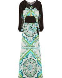 Emilio Pucci Printed Silk-charmeuse and Chiffon Maxi Dress - Lyst