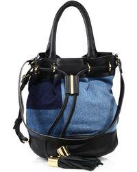 See By Chloé | Viki Denim & Leather Bucket Bag | Lyst