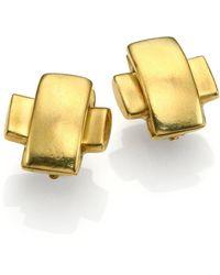 Vaubel Hammered Cross Clip-On Earrings - Lyst