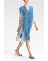 Natori Ombre Short Caftan blue - Lyst