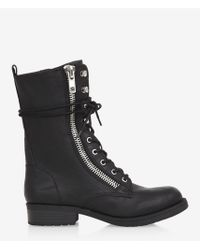 Express Zip and Lace Up Biker Boots - Lyst