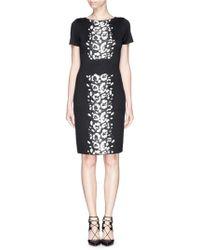 St. John Leopard Spot Jacquard Knit Dress black - Lyst
