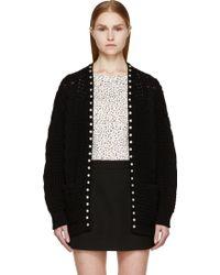 Saint Laurent Black Cable_knit Studded Open Cardigan - Lyst