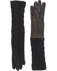Barneys New York Cable-Knit Long Gloves black - Lyst
