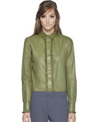Gucci Leather Ruffle Buttondown Shirt - Lyst