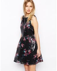 Oasis Printed Sequin Skater Dress - Lyst